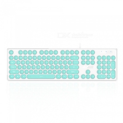AK325 Retro Mechanical Feeling USB 3.0 Wired Keyboard with Backlight for Office Working, Game Playing - Green