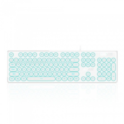AK325 Retro Mechanical Feeling USB 3.0 Wired Keyboard with Backlight for Office Working, Game Playing - White