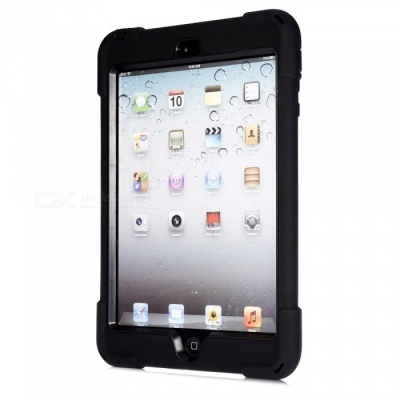 Three-Proof 360 Degree Rotating Silicone Tablet Case Cover with Hand Bracket Function for IPAD Mini 1 2 3 - Black
