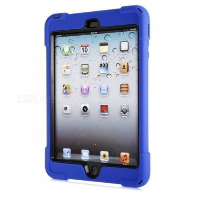 Three-Proof 360 Degree Rotating Silicone Tablet Case Cover with Hand Bracket Function for IPAD Mini 1 2 3 - Blue