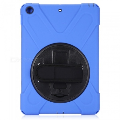 """Three-Proof 360 Degree Rotating Silicone Tablet Case Cover with Hand Bracket Function for IPAD 2017 9.7"""" - Blue"""