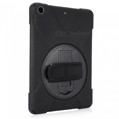 """Three-Proof 360 Degree Rotating Silicone Tablet Case Cover with Hand Bracket Function for IPAD 2017 9.7"""" - Black"""