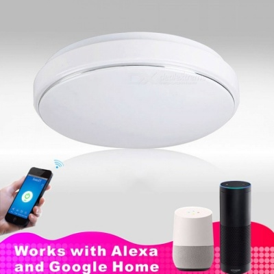 JIAWEN 15W Silver Line Smart Wi-Fi Phone APP Control LED Ceiling Light Cold White 35cm Diameter AC110~240V