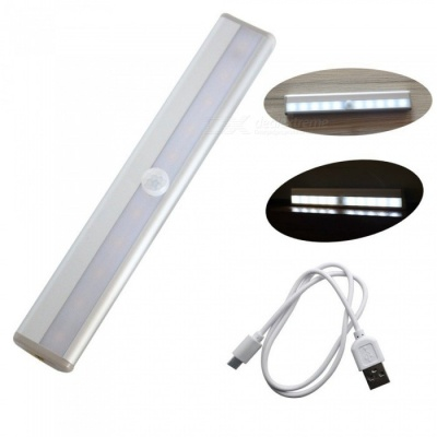 ZHAOYAO USB Rechargeable DC 3-6V 2835 SMD 10 LEDs Infrared Induction LED Light - White (Silver)