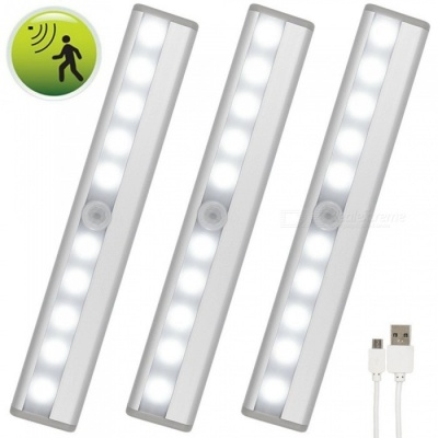 ZHAOYAO 3PCS USB Rechargeable DC 3-6V 2835 SMD 10 LEDs Infrared Induction LED Light - White (Silver)