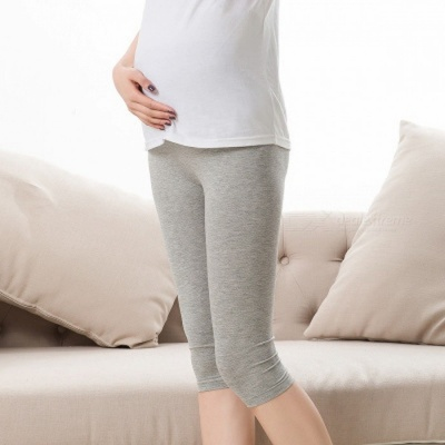 Pregnant Women Leggings Thin Breathable Cropped Trousers Adjustable Waistband Pants