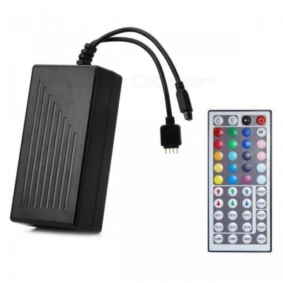 44-Key Power Supply Integrated Infrared Remote Control Dimmer for LED Monochrome Strip Lamp - Black (EU Plug)