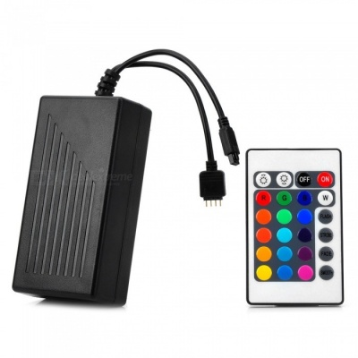 24-Key Power Supply Integrated Infrared Remote Control Dimmer for LED Monochrome Strip Lamp - Black (US Plug)
