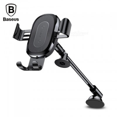 Baseus QI Wireless Fast Charger Gravity Car Mount Holder 10W Silicone Phone Holder 4.0-6.5 Inch Adjustable Black