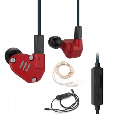 KZ ZS6 Balanced Armature With Dynamic In-ear Earphones HiFi Headphones With Silver Cable & Bluetooth Cable - Red (With Mic)