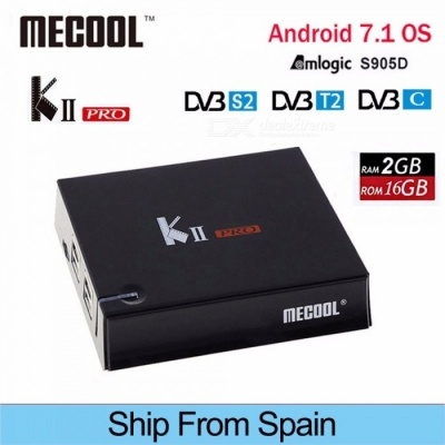 MECOOL KII Pro IPTV Android TV Box Android 7.1 DVB-S2 + T2 Amlogic S905D Quad-core HD Set Top Box EU Plug/Black