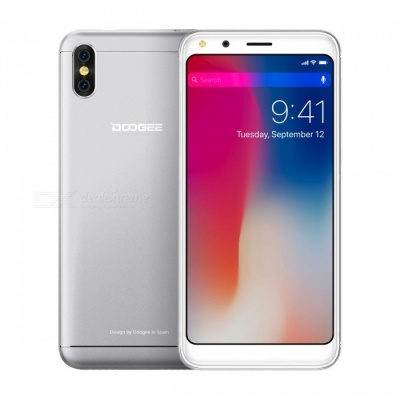 """DOOGEE X53 5.3"""" Full Screen Android 7.0 3G Phone w/ 1GB RAM, 16GB ROM - Silver"""
