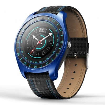 V10 Men's Bluetooth Smart Watch with Camera, Pedometer, Heart Rate Monitor - Blue