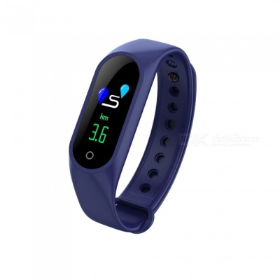 M3 Color Screen Smart Sports Watch Bracelet with Blood Pressure / Oxygen / Heart Rate Monitoring - Blue