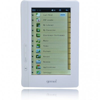 "Gemei GM6000 4.3"" Touch Screen E-Book Reader Media Player w/ FM/Voice Recorder/TV Out - White (4GB)"