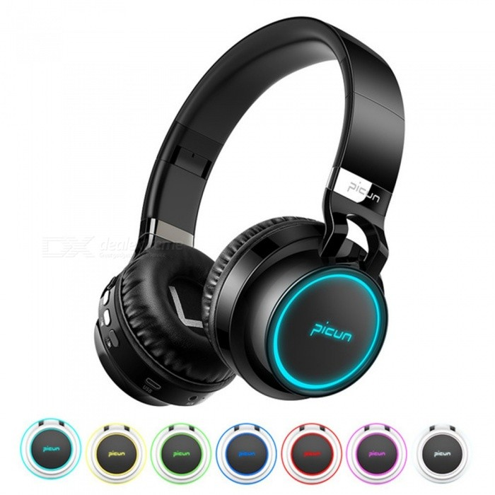 P60 Bluetooth Headphone Wireless Headphones 7 Colors Glowing 20 Hrs Music Time With MIC For Phone Xiaomi IPHONE Black
