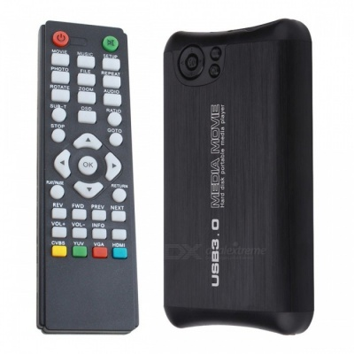 """Compact HD 1080P 2.5"""" SATA HDD Media Player with HDMI/USB Host/SD/AV-Out/COAX - Black"""