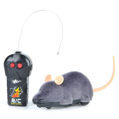Scary R/C Simulation Plush Mouse with Remote Controller - Gray
