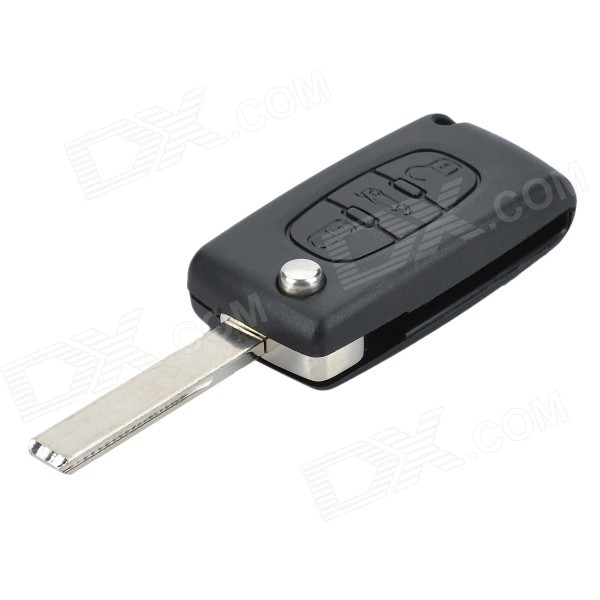 Replacement Folding Smart Key Casing for Peugeot 407 - Black