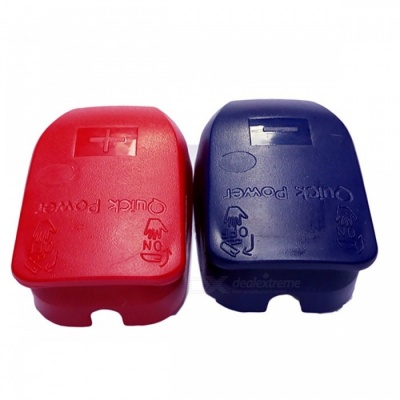 Quick Release Car Battery Terminal Connector with Caps - Blue, Red