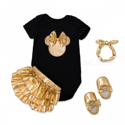 4-Piece Cotton Baby Girl Clothes Clothing Set - Black, Golden