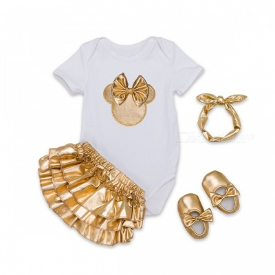 4-Piece Cotton Baby Girl Clothes Clothing Set - White, Golden