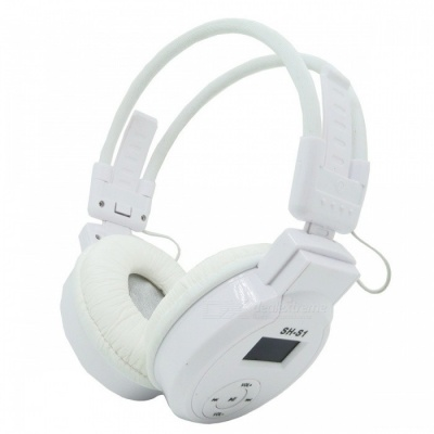 On-Ear LCD Foldable Wireless Headphone Headset, MP3 Player - White