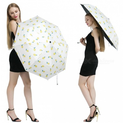 Cute Lemon Pattern Folding Rain Umbrella - White
