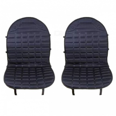 12V Heated Warm Car Seat Cushion Cover for Winter - Black ((Two-Seat Version)