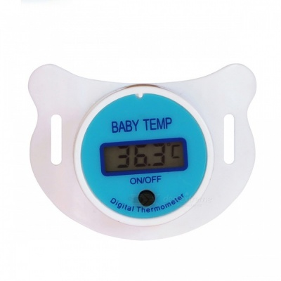Medical Silicone Pacifier Nipple Baby Thermometer w/ LCD Digital Screen - Blue