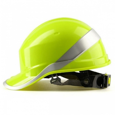 Safety Helmet Hard Hat Work Cap with ABS Insulation Material, Phosphor Stripe - Yellow
