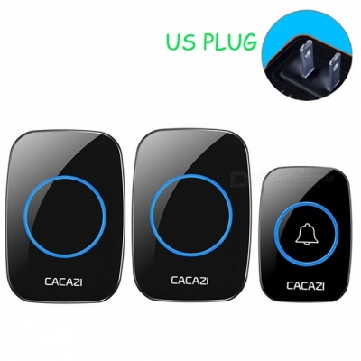 CACAZI Portable Wireless Doorbell with 1 Button 2 Receivers (US Plug)