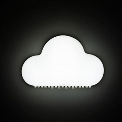 Novelty Cloud Style Night Light Wireless Wall Lamp LED Sound Sensor Lamp with Magnet On The Back - White