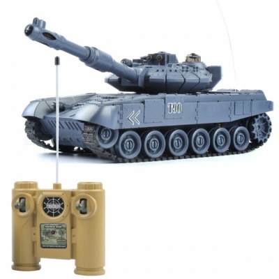 1:20 9CH 27Mhz Infrared Remote Control Battle Tiger T90 Cannon RC Tank Toy for Kids - Blue