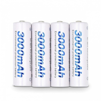 4Pcs 1.2V AA 3000mAh Ni-MH Pre-charged Rechargeable Batteries for Camera