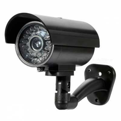 Outdoor Waterproof Security CCTV Surveillance Dummy Fake Camera with Flash LED Light - Black