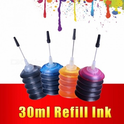 4 Pcs Universal 30ml dye ink K C M Y Refill Ink kit  For HP Canon Brother Epson Lexmark DELL Kodak printer ink Cartridge BK/M/C/Y