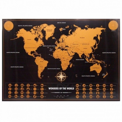 Retro World Map Personalized Vintage Travel World Map Poster Sticker Vacation National Geographic Maps  Small size 42x30cm