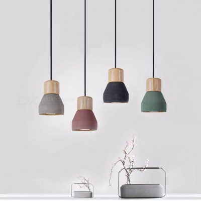 4 Colors Wooden Indoor Decoration Hanging Lamp American Country Style Cement Pendant Light 120cm Wire E27 / E26 Socket Droplight Green