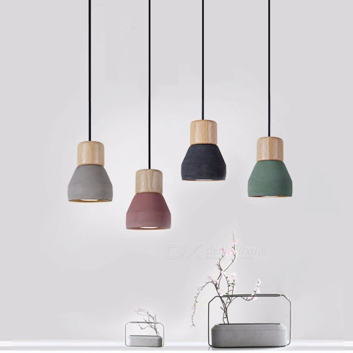 4 Colors Wooden Indoor Decoration Hanging Lamp American Country Style Cement Pendant Light 120cm Wire E27 / E26 Socket Droplight Black