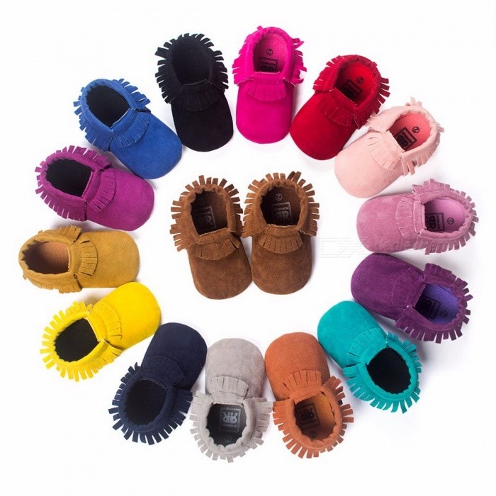 PU Suede Leather Newborn Baby Shoes Boy Girl Baby Moccasins Soft Moccs Shoes Bebe Fringe Soft Soled Non-slip Footwear Crib Shoes 1/J