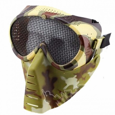 MA13735 Full Face Metal Mesh Protective Goggle Mask with with Adjustable Elastic Strap for Airsoft Paintball Games camouflage