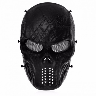 Airsoft Paintball Tactical Safety Full Face Protection Skull Mask for CS War BB Game MASK M06 Paintball Sports black