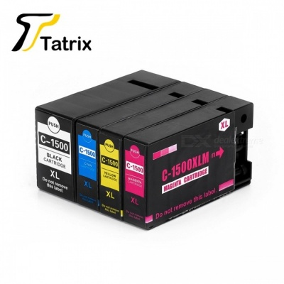 PGI-1500XL Full Set 4 Colors Pigment Ink Cartridge, Compatible with Canon Printer MAXIFY MB2050, MB2350 BK/M/C/Y
