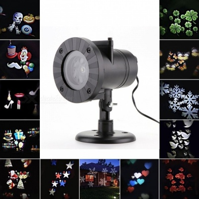 12 Patterns Christmas Laser Snowflake Projector Outdoor LED Waterproof Disco Lights Home Garden Star Light Indoor Decoration US Plug