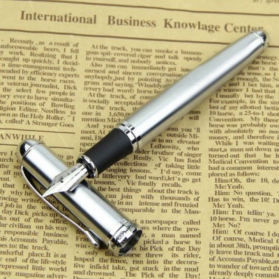 Jinhao X750 Portable Premium High-End Silver Stainless Steel Medium 18KGP Nib Fountain Pen, Perfect Gift for Students Without ink
