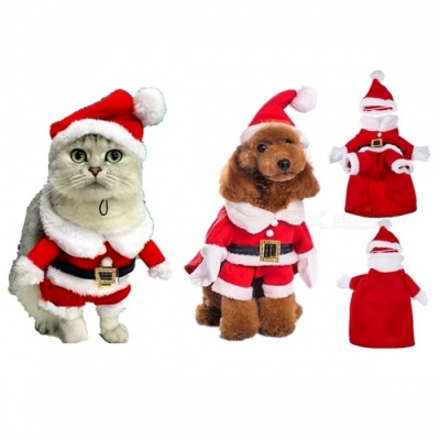 Chic Santa Clause Christmas Pet Dog Cat Warm Costume, Cotton Clothes Coat Apparel for Spring, Autumn, Winter  S/Santa Costume Suit