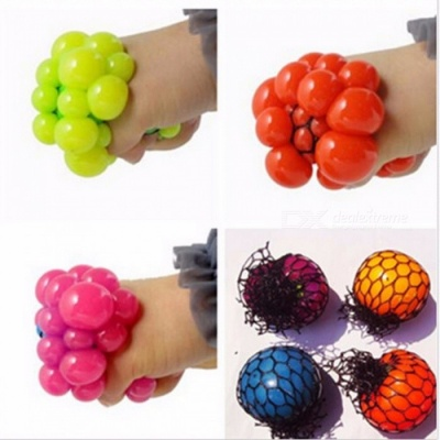 Small Cute Anti-Stress Face Reliever Grape Ball, Autism Mood Squeeze Relief Healthy Toy for Kids, Adults Orange