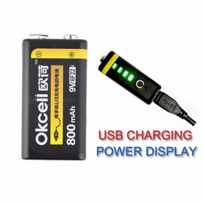 High Quality Premium OKcell 9V 800mAh USB Rechargeable Lipo Battery for RC Helicopter Model Microphone Black(1PCS)