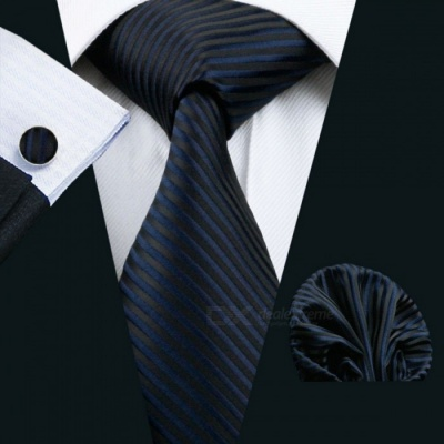 Barry.Wang LS-877 Dark Striped 100% Silk Classic Jacquard Woven Tie w/ Hanky Cufflink Set for Men Formal Wedding Party LS1494